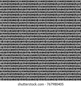 Simple black and white doodle lines herringbone geometric striped seamless pattern, vector
