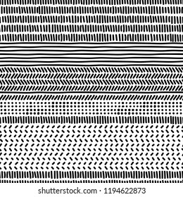 Simple black and white doodle strokes dots and triangles geometric striped seamless patterns set, vector