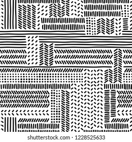 Simple black and white doodle strokes dots and triangles geometric striped seamless pattern, vector background