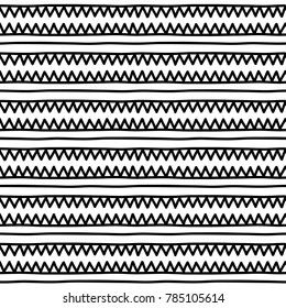 Simple black and white doodle triangles geometric striped seamless pattern, vector