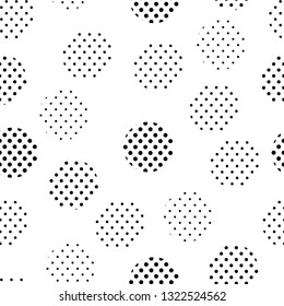 Simple black and white doted circles seamless pattern, vector background