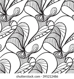 simple black and white floral pattern with cells and lines