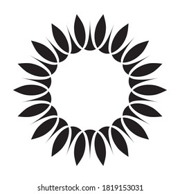 Simple black and white illustration of sunflower. Minimalist isolated image, perfect for a company or product logo. Symbolises growth, motion and development. Eco motif of flower and sun.
