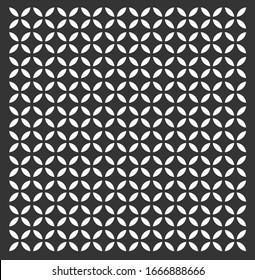 Simple black and white Jaali design or grill for CNC cutting. Beautiful petal shape vector pattern.