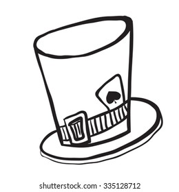 simple black and white mad hatters hat cartoon