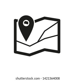 Simple black and white map icon with place pointer in the corner