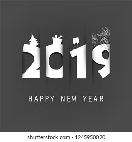 Simple Black and White New Year Card, Cover or Background Design Template With Christmas Tree, Gift Box, Drinking Glasses And Fireworks - 2019