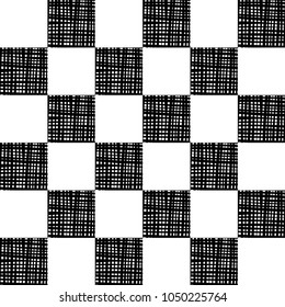 Simple Black and White Pattern.  Chequered background, design element with black white squares.