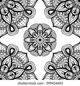 floral doodles black white design elements stock vector royalty