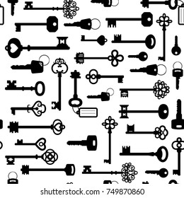 Simple black and white seamless pattern with different keys silhouettes, vector illustration