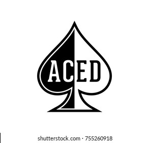 Simple Black and White Spade Ace Poker Casino Illustration Aced Logo SIlhouette