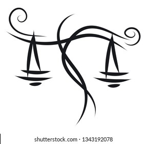 Simple black and white tattoo sketch of libra horoscope sign vector illustration