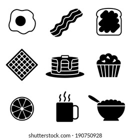 Simple black and white vector breakfast icons