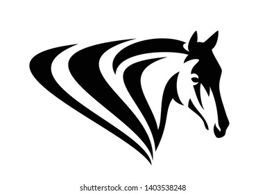 simple black and white vector design of horse head with stylized mane