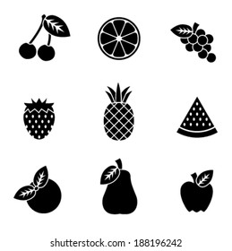 Simple black and white vector fruit icons