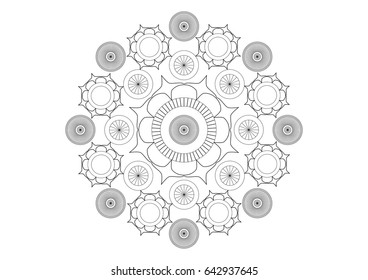 Simple black and white vector mandala composed with flowers and circles, black lines on white paper background
