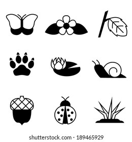 Simple black and white vector nature icons