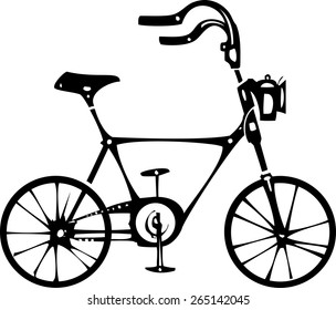 Simple black and white vintage style two wheeled bicycle