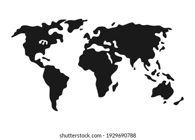 Simple black world map in flat style isolated on white background. Vector illustration.