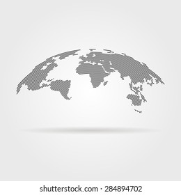 simple black world map from thin line. concept of infographics element, trip around the world, globalization. isolated on gray background. flat style trend modern logo design vector illustration