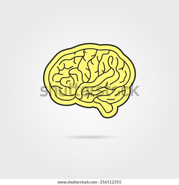 Simple Black Yellow Brain Concept Thinking Stock Vector