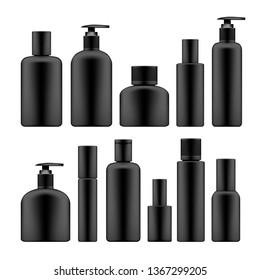 Simple Blank Black Plastic Cosmetic Bottles Set. EPS10 Vector