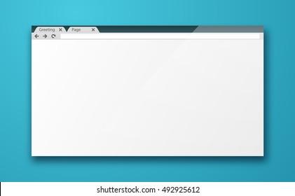 Simple blank browser window mockup. Empty internet browser screen. Web design mockup vector template.
