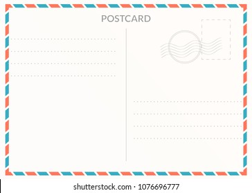 Simple blank postal card illustration for design