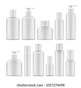 Simple Blank White Plastic Cosmetic Bottles Set. EPS10 Vector
