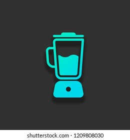 Simple blender icon. Electronic kitchen mixer. Colorful logo concept with soft shadow on dark background. Icon color of azure ocean