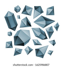 Simple blue 3D crystals, mineral rock, diamond shape, abstract gemstone, magic crystal vector illustrations