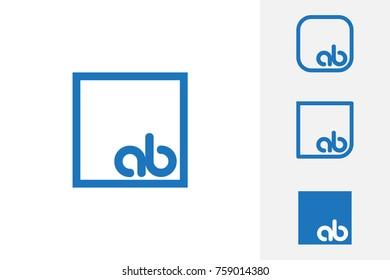 Simple Blue AB Initial Logo Designs