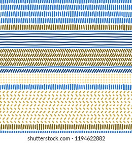 Simple blue anf brown doodle strokes dots and stripes geometric striped seamless patterns set, vector