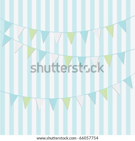 Simple Blue Birthday Card Design Bunting Stock Vector Royalty Free
