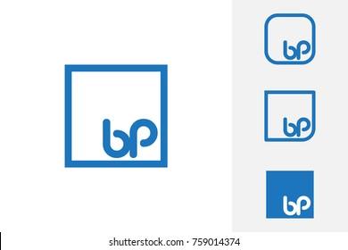 Simple Blue BP Initial Logo Designs
