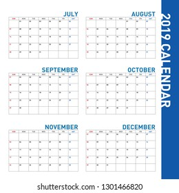 A simple blue calendar from the month of July to December of 2019.