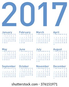 Simple Blue Calendar for year 2017, in vector format.