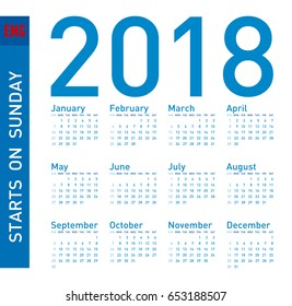 Simple Blue Calendar for year 2018, in vector format. Week starts on Sunday.
