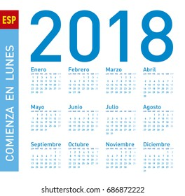 Simple Blue Calendar for year 2018, in vectors. In Spanish. Week starts on Sunday.
