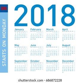 Simple Blue Calendar for year 2018, in vector format. Week starts on Monday.