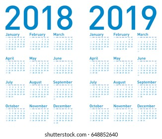 Simple Blue Calendar for years 2018 and 2019, in vectors.