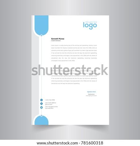 simple blue color vector letter head のベクター画像素材