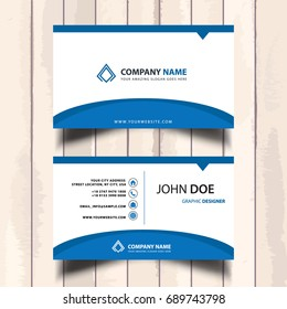 simple blue company visit card