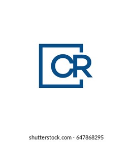 Simple Blue CR initial Logo designs template