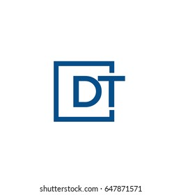 Simple Blue DT initial Logo designs template