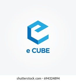 Simple Blue e Cube Logo Symbol
