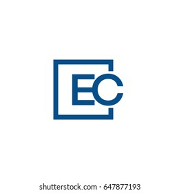 Simple Blue EC initial Logo designs template