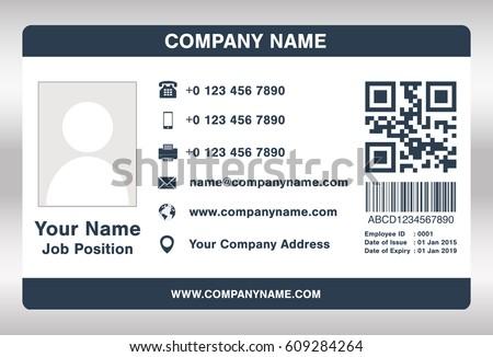 simple blue employee id card template のベクター画像素材