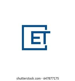 Simple Blue ET initial Logo designs template