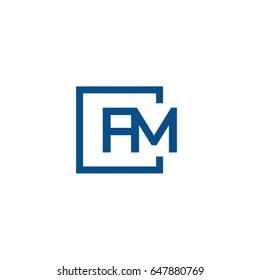 Simple Blue FM initial Logo designs template